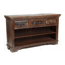 Cambria 3 Drawer Low Bookcase - This 3 Drawer, 2 Shelf Bookcase in the Cambria collection is finely crafted from salvaged wood with stunning attention to detail. Cambria is finely crafted from salvaged wood with stunning attention to detail. Old, weathered doors. Aged wood planks. Ancient architectural carvings and hand print blocks from generations past. Unique treasures neglected for decades. Each one of our vintage wood pieces is an exquisite, fascinating story. All reclaimed and restored for a new generation.