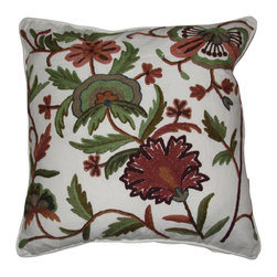 """Crewel Fabric World - Crewel Pillow Dahiana Forest Colors on Offwhite Cotton Duck, 16""""x16"""" - Features the exotic feel of a palampore with the handcrafted charm of early-American crewelwork"""