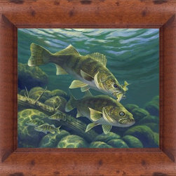 """Michael Hoffman - ''Predator 20''  x 24  Print - """"Predator"""" is a fishing canvas giclee by Michael Hoffman. We present this to you in a rustic walnut pine finish frame. This makes for an overall framed size of 20 x 24."""