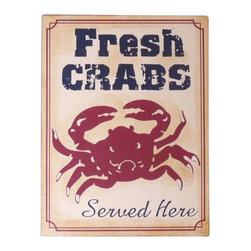 "Handcrafted Model Ships - Metal Fresh Crabs Sign 13"" - Metal Beach Sign - Feel the cool, crisp ocean breeze blow in off the Atlantic, the tolls of harbor and ship bells ringing out through the misty morning, and enjoy handcrafted nautical decor's enchanting nautical themed signs. Adorn your home with classic seafaring style, add to your collection of charming nautical treasures, or place this Metal Fresh Crabs Sign 13"" aboard your very own vessel. With the perfect Nautical Themed Sign express your love of the sea, the freedom of the open ocean, and the timelessly serene ambiance of nautical life."