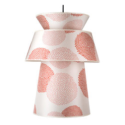 Lights Up! - Louie Pendant Lamp, Red-Orange Mumm on Silk Shade - Enjoy splendid flowers year-round, even without a green thumb. This wonderful modern pendant lamp features a cheery floral print on a silk shade.\