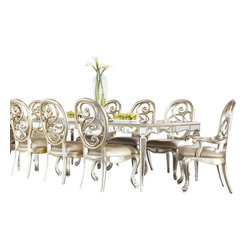 "American Drew - American Drew Jessica McClintock 10 Piece Leg Mirrored Dining Room Set - Welcome to the Jessica McClintock Home, by American Drew. This Collection combines the romantic elements of Jessica into a ""New Traditional"" styling. This collection truly captures the past, present and future together. The combination of materials such as fine veneers, marble, leather and mirror, the dramatic serpentine and bowed shapes, he use of elements from fashion and nature, and the custom, jewelry-like hardware all add a unique flare to this collection that is like nothing before. This Collection is crafted from highly figured Walnut Veneers, Prima Vera and Maple Marquetry in a Mink finish. A Silver Leaf finish is offered on select pieces, giving them a soft, veiled-platinum appearance. Unique pieces abound in Jessica McClintock Home. The Antiqued Mirror Leg Dining Table, the Silver Leafed Leather Bed with Crystal-like buttons, the Dressing Armoire and Silver Leaf Serpentine Chest all create beautiful focal points in every room of your home. Gracious scaled items, eclectic mixture of materials and designs and the romantic touch of Jessica come together to create a collection of furniture that will add a high end style to any home."