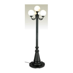 Patio Living Concepts - Four Bulb Outdoor Park Lamp w Wrought Iron Finish (Black) - Color: Black. This is a classic style light that features an attractive and weighty pole as well as a white globe.  The white globe will illuminate your yard, garden, or porch.  The light is a great buy because it is not only meant to be outdoors to provide light but it will also add a classic decorative touch to your yard.  This regal  outdoor lamp offers meticulous craftsmanship and the refinement of old world elegance.  Perfect for lining the driveway or flanking the entryway to a garden, you will love the attractive good looks. * Black or White Finish. Holds 40 lbs of sand. 24 lbs unfilled. Sand not included. Four 60 watt bulbs maximum. Four 8 in. White Globe. 22 in. Dia. 85 in. H. Plugs directly to standard outlet, as opposed to direct wiring