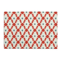 Red Diamond Dot Ikat Custom Placemat Set - Is your table looking sad and lonely? Give it a boost with at set of Simple Placemats. Customizable in hundreds of fabrics, you're sure to find the perfect set for daily dining or that fancy shindig. We love it in this diamond trellis with a twist of contemporary ikat-like heathering. a modern accent in cherry red & aqua blue.