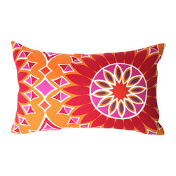 The Pillow Studio - Sunburst Soleil LA Orange Outdoor Lumbar Pillow Cover With Fabric on Both Sides - I love the bold color and design on this pillow -  I think it is a great addition inside or out!