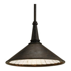 Manuscript Pendant - I love the vintage industrial patina of this pendant lamp.  It's rusty and crusty iron on the outside, with faceted antiqued mirrors on the inside.