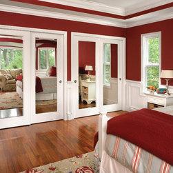Meridien Closet Doors: Beveled Mirror Wood Frame -