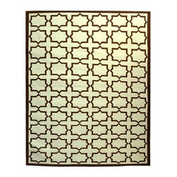 Safavieh - Light Blue and Ivory Geometric Wool Area Rug (8 ft. x 10 ft.) - Size: 8 ft. x 10 ft. Flat weave. Made of wool. Made in India. Color: Light blue and ivory. This distinctive piece is both stylish and incredibly soft to the touch with bold rich colors that complement any room. Flat-woven by hand in India. Dhurries collection rug makes a great addition to your living space, bedroom and more. Geometric arrangement adds texture and dimension anywhere in your home.