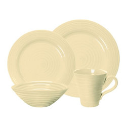 Portmeirion - Sophie Conran Biscuit 4 pc. Place Setting Multicolor - 427594 - Shop for Sets from Hayneedle.com! The Sophie Conran Biscuit 4 pc. Place Setting is the perfect way to start your dinnerware collection. This lovely neutral set is simple yet stylish. Constructed of durable porcelain each versatile piece is safe for the freezer oven microwave and dishwasher. It also makes a great gift for graduates newlyweds or a housewarming.About PortmeirionStrikingly beautiful eminently practical refreshingly affordable. These are the enduring values bequeathed to Portmeirion by its legendary co-founder and designer Susan Williams-Ellis. Her father architect Sir Clough Williams-Ellis was the designer of Portmeirion the North Wales village whose fanciful architecture has drawn tourists and artists from around the world (including the creators of the classic 1960s TV show The Prisoner). Inspired by her fine arts training and creation of ceramic gifts for the village's gift shop Susan Williams-Ellis (along with her husband Euan Cooper-Willis) founded Portmeirion Pottery in 1960. After 50+ years of innovation the Portmeirion Group is not only an icon of British design but also a testament to the extraordinarily creative life of Susan Williams-Ellis.The style of Portmeirion dinnerware and serveware is marked by a passion for both pottery manufacturing and trend-setting design. Beautiful tactile nature-inspired patterns are a defining quality of Portmeirion housewares from its world-renowned botanical designs modeled on antiquarian books to the breezy natural colors of its porcelain and earthenware. Today the Portmeirion Group's design legacy continues to evolve through iconic brands such as Spode the Pomona Classics collection and the award-winning collaboration of Sophie Conran for Portmeirion. Sophie Conran for Portmeirion:Successful collaborations have provided design inspiration throughout Sophie Conran's life. Her father designer Sir Terence Conran and mother food writer