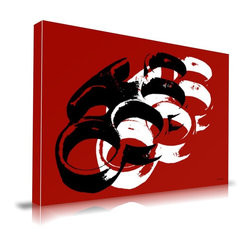 "Apt2B - 'Brass Knuckles' Print by Maxwell Dickson, 18"" x 24"" - Knuckle down and show some brass with this vibrant, graphic addition to your walls. Printed with water-based and ecofriendly inks on museum-quality gallery wrapped canvas, black and white images float against the striking red background. It comes in different sizes ready to hang."