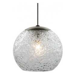 """LBL Lighting - Mini Rock low voltage pendant lamp - Round - Products description:  The Mini Rock Round low voltage pendant lamp from LBL Lighting is designed by LBL Lighting and made in the USA.The Mini Rock Round low voltage pendantlamp is made fordomestic and commercial use and comes with mounting options FSJ, MPT, MR2 and MRL. This fixture features a sphere, mouth-blown transparent glass rolled in clear crystal frit and flash heated to create a unique texture. This fixture comes with 6 feet of field-cuttable cord and is available in amethyst, dark amber, clear, smoke or steel blue color with a bronze orsatin nickel finish.   This fixture is compatible with theLBL Single Circuit Monorail,LBL Two-Circuit Monorail, orLBL Fusion Jack Canopies.                                              Manufacturer:                                           LBL Lighting                                                              Designer:                                           LBL Lighting                                                              Made  in:                                          USA                                                              Dimensions:                                           Height: 7.4"""" (18.8m) X Width: 6.6"""" (16.8cm)                                                              Light bulb:                                           1X 50WGY6.35 Xenon or 1 X 6W LED                                                              Material                                           Metal,glass"""