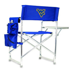 """Picnic Time - West Virginia University Sports Chair in Navy - The Sports Chair by Picnic Time is the ultimate spectator chair! It's a lightweight, portable folding chair with a sturdy aluminum frame that has an adjustable shoulder strap for easy carrying. If you prefer not to use the shoulder strap, the chair also has two sturdy webbing handles that come into view when the chair is folded. The extra-wide seat (19.5"""") is made of durable 600D polyester with padding for extra comfort. The armrests are also padded for optimal comfort. On the side of the chair is a 600D polyester accessories panel that includes a variety of pockets to hold such items as your cell phone, sunglasses, magazines, or a scorekeeper's pad. It also includes an insulated bottled beverage pouch and a zippered security pocket to keep valuables out of plain view. A convenient side table folds out to hold food or drinks (up to 10 lbs.). Maximum weight capacity for the chair is 300 lbs. The Sports Chair makes a perfect gift for those who enjoy spectator sports, RVing, and camping.; College Name: West Virginia University; Mascot: Mountaineers; Decoration: Embroidered; Includes: 1 detachable polyester armrest caddy with a variety of storage pockets designed to hold the accessories you use most"""
