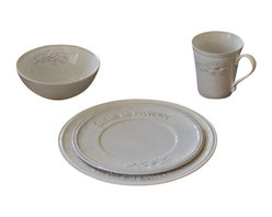 Cuisine de Provence - Cuisine de Provence Dinnerware Set - Add elegant French style to your table with this porcelain Cuisine De Provence Dinnerware Set. The embossed cascading olive branch and French script sets the stage for all your favorite meals.