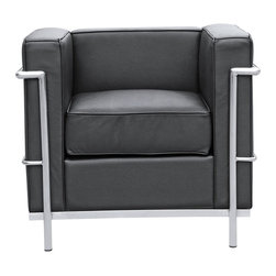 Lemoderno - Fine Mod Imports  Cube Lc2 Petit Chair, Black - Cushions covering in genuine leather the front, sides and back, with a polished stainless steel frame. Polished Stainless Steel Frame    Assembled