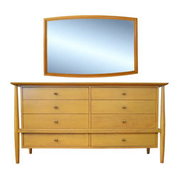 John Stuart Mid-Century Bleached Walnut Dresser with Large Matching Vanity Mirro - Dimensions:L 60''  × W 20''  × H 31''