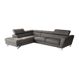 JNM Furniture - Nicoletti  Sparta Italian Leather Sectional Sofa, Gray, Left Facing Chaise - Italian Leather sectional set fashionable and stylish in gray premium leather. Seats and backs have high density foam to give you extra comfort and support.