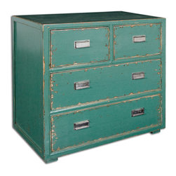 Uttermost - Aquias Hand-Painted Accent Chest - Hand Painted, Solid Fir Wood In Distressed Aqua Finish Accented By Brushed Steel Pulls On Four Dovetail Drawers.