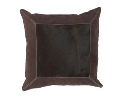 """Surya - Surya Pillow X-D8181-121HMP - This pillow brings a western feel to any room with its animal hide design. Colors of espresso, chocolate, and ecru accent this decorative pillow. This pillow contains a down fill and a zipper closure. Add this 18"""" x 18"""" pillow to your collection today."""