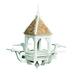 Windamere Hanging Bird Feeder - I like how this little bird feeder feels like a gabled church steeple. It has a traditional look to it but with a fresh take.