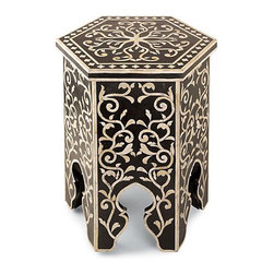 Black & White Hexagonal Table - This ebonized wood stool/drink perch with white bone inlay would add a great global feel to a room.