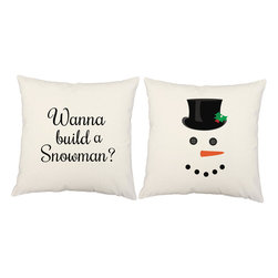 RoomCraft - Set of 2 Christmas Holiday Pillows, White, Build A Snowman, Covers and Pillows - FEATURES:
