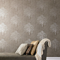 Graham & Brown - Enchant Wallpaper - A single enchanted tree shimmers, resplendent in the forest. Bewitching, beguiling and reminiscent of a stage set in preparation. This golden brown wallpaper is paste the wall! Making it easy to hang the paper quickly and easily with no mess.