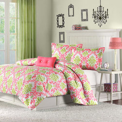 Mi-Zone - Mizone Monica 4-piece Comforter Set - Delight the young girl in your life with this floral four-piece comforter set from Mizone. This colorful set includes a comforter, decorative pillow and shams. The vibrant green and coral pattern will brighten up any bedroom space with glorious color.