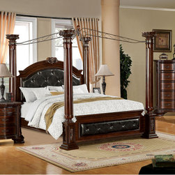 Furniture of America - Furniture of America Luxury Brown Cherry Baroque Style Poster Canopy Bed - Create a luxurious atmosphere in your bedroom with this handsome and expansive poster canopy bed. The black leatherette pops beautifully against the brown cherry finished frame while the steel canopy swirls gracefully above.