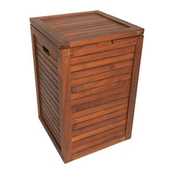 "Aqua Teak - Teak Laundry Hamper, Medium Size - This classy teak laundry hamper comes with a removable fabric drawstring bag for your convenience. Our environmentally friendly, sustainably harvested teak wood is incredibly durable and naturally water resistant so it is ideal for either indoor or outdoor use. Incredibly versatile, this teak hamper can also be used as a beautiful storage container and more. You'll love the look and quality of this handcrafted teak laundry hamper! We offer a 30 day satisfaction guarantee and 5 year warranty on all of our products. Dimensions: 13.75""w x 21.25""h x 13.75""d"