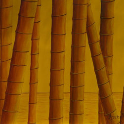 """Sunrise at Bamboo Grove"" Artwork - As the sun rises golden in the morning sky it paints the water and bamboo with its golden color."