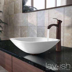 Featured Vendor - VIGO - This sink from VIGO brings a contemporary look to any bathroom. The white vessel bowl features a smooth rounded edge and combines the durability and natural aesthetics of granite, marble, ceramic and glass.