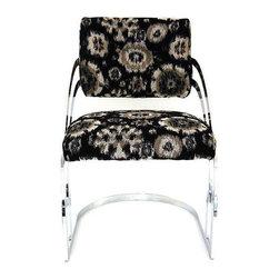 Milo Baughman Style Chrome Chair - Dimensions 21.0ʺW × 26.0ʺD × 31.5ʺH