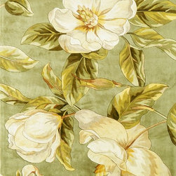 """Kas - Country & Floral Catalina Hallway Runner 2'6""""x8' Runner Sage Area Rug - The Catalina area rug Collection offers an affordable assortment of Country & Floral stylings. Catalina features a blend of natural Light Blue color. Hand Tufted of 100% Wool the Catalina Collection is an intriguing compliment to any decor."""