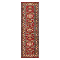 Rugsville - Rugsville  Kazak Red Wool 16508-310 3X10Rug - Our Super Kazak collection carries some of the finest pieces weaved in the Orient! These Kazaks are a modern shape