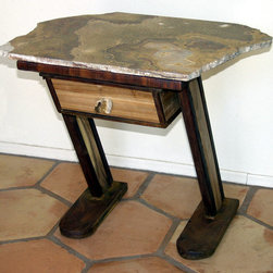 NightStandStill - a sculptural bedside table - This bedside table is built of steel and Arizona mesquite wood with a polished marble top. It includes a working drawer. Designed and fabricated by Phoenix sculptor Kevin Caron. Click on the Web site link to see an additional photo.
