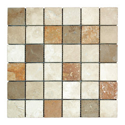 STONE TILE US - Stonetileus 20 pieces (20 Sq.ft) of Mosaic Mix 2x2 Tumbled - STONE TILE US - Mosaic Tile - Mix 2x2 Tumbled Specifications: Coverage: 1 Sq.ft size: 2x2 - 1 Sq.ft/Sheet Piece per Sheet : 36 pc(s) Tile size: 2x2 Sheet mount:Meshed back Stone tiles have natural variations therefore color may vary between tiles. This tile contains mixture of gold - white - light brown - dark brown - yellow - red - ivory - and color movement expectation of high variation, The beauty of this natural stone Tumbled comes with the convenience of high quality and easy installation advantage. This tile has Tumbled surface, and this makes them ideal for floor, walls, kitchen, bathroom, outdoor, Sheets are curved on all four sides, allowing them to fit together to produce a seamless surface area. Recommended use: Indoor - Outdoor - High traffic - Low traffic - Recommended areas: Mix 2x2 Tumbled tile ideal for floor, walls, kitchen, bathroom,Free shipping.. Set of 20 pieces, Covers 20 sq.ft.