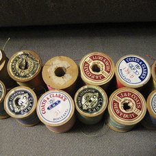 Thread 12 Antique Wooden Spools by GrayFern on Etsy