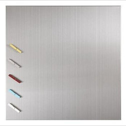"""Magnetic Square Board, 24"""" Sq. Stainless Steel (includes 5 clothespin magnets) - Maximize your kitchen and office workspace with the versatile beauty - and durability - of stainless-steel accessories. Backsplash includes 5 clothespin magnets; multiples can be installed to line the entire kitchen. Magnetic canisters for storing spices attach to the backsplash. Post recipes, postcards or photos on the square and long rectangular boards. Alphabet magnets include all 26 letters. Ultra-thin gallery ledge can be used as a spice rack by adding our set of 6 flat-sided glass jars with airtight lids (sold separately). Mounting hardware included. Catalog / Internet Only."""
