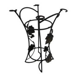 Grape Leaf Motif Single Bottle Wine Holder Rack - This beautiful 10 inch tall table top single bottle bottle wine rack has metal grape leaves and grapes on the sides. The top of the rack has holders for up to 4 wine glasses. It a wonderful bronze enamel finish that adds warmth to kitchens, dining rooms and dens.It measures 1 inches tall and 9 inches in diameter at the top. It makes a great housewarming present.