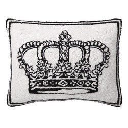 Home Decorators Collection - Crown Hand-Hooked Pillow - Whether as a decorative accent in your living room, bedroom or even on an arm chair in your home office, the Crown Hand-Hooked Pillow offers the opulent look of royalty as well as a quality construction that will last for years to come. With its bold, black and white appearance and interesting texture offered by its hand-hooked wool design, this decorative pillow will accentuate most any style of home decor from traditional to modern. Order yours today and add a relaxing touch to your space. Hand-hooked, heavyweight 100% wool face. Soft cotton velvet back.