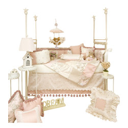 Glenna Jean - Madison Crib Bedding Set - An instant classic. The Madison Crib Bedding Set by Glenna Jean radiates charm and sophistication with traditional design elements. Surround your little one with embroidered dots on taffeta, whimsical cotton toile, soft cream velvet and fuzzy pom pom tassels. This crib bedding set is embellished with luxurious satin ribbon bumper ties and corded quilt trim.