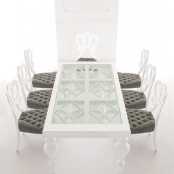 Padova Luxury White and Glass Dining Table -