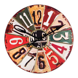 Wilco - Large Round Wall Clock - This wall clock offers color and texture with vintage flair and is the perfect piece for your living room or kitchen area. �� 2'' W x 29'' diameter Wood / metal Ready to hang AA battery required (not included) Imported