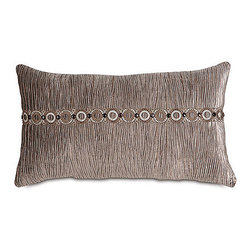 Frontgate - Prelude Fawn Pillow with Border - From Eastern Accents. Dry clean only recommended. Because this bedding is specially made to order, please allow 4-6 weeks for delivery.. The Galbraith Bedding Collection is an elegant, monochromatic ensemble. A pleated velvet fabric gives the collection metallic sheen and texture. Beaded trimming and tassels enhance the collection's urban appeal. .  . . Made in Italy. Coordinates with the Galbraith Bedding Collection.
