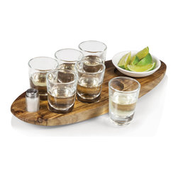 Picnic Time - Cantinero Tray - Natural Wood - The Cantinero by Picnic Time is an original design featuring an acacia tray with specific areas carved out to hold six heavy-bottom shot glasses, one 4in. ceramic dish for garnishes such as lime slices, and one frosted glass salt shaker. The Cantinero is perfect for sharing selections of your favorite top shelf spirits or for hosting your own tasting party.