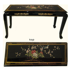 n/a - Asian Ball and Claw Sofa Table Hand Painted with Glass Top - Shiny black lacquer Sofa Table. Lovely against a wall with a stool underneath as a Chinese desk or dressing table. A great addition to any living room, den or bedroom. Solid mahogany with hand painted bird & flower pattern.  Hand painted and carved. Glass top included. Dimensions: 44 by 14 by 29 inches high. Look for our coordinating  Oriental mirror and other fantastic matching lacquer furniture items.