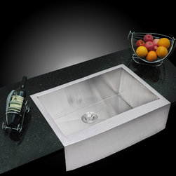 Water Creation - Water Creation Zero Radius Single Bowl Stainless Steel Handmade Apron Front Kitc - Add a touch of sophistication and modern flare to any kitchen with a Water Creation sink. Made of highly durable stainless steel,this sink will not stain,tarnish,or rust over time.