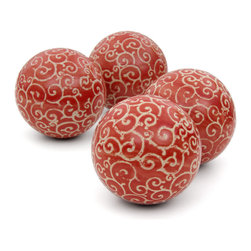 "Oriental Furniture - 4"" Red and Beige Vines Porcelain Ball Set - A swirling ivy design curls its way along the sides of each of the red porcelain balls in this set of four. Great as a seasonal accent, consider displaying these on a shelf or mantel, arranging them in a bowl or basket as a creative centerpiece, or giving them to a loved one as a thoughtful present."