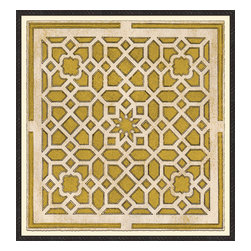 Soicher-Marin - Large Garden Plan B, Yellow - Giclee Print with a Black Ornate wooden frame with decorative line pattern floated on an off white mat.  Includes glass, eyes and wire. Made in the USA. Wipe down with damp cloth