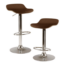 "Winsome Wood - Winsome Wood Kallie Set of 2 Air Lift Adjustable Stool w/ Natural Wood Veneer To - Set of 2 Air Lift Adjustable Stool w/ Natural Wood Veneer Top & Metal Base belongs to Kallie Collection by Winsome Wood Kallie, Set of 2 Swivel and Adjustable Airlift Stool with Bentwood Veneer Seat in Cappuccino Finish. Metal Base. Adjustable Seat Height from 22.70""-30.80"" Barstool (2)"